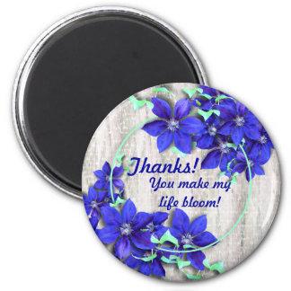 Blue Clematis Flower Vine Thank You Magnet