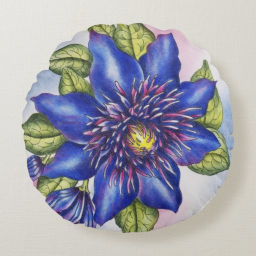 Round Blue Decorative Pillows : Blue Clematis Polyester Round Throw Pillow (16