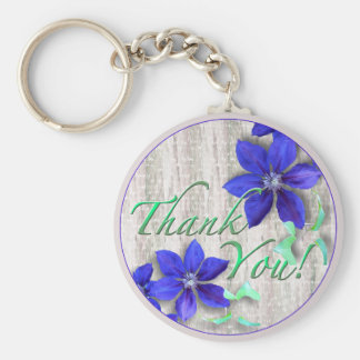 Blue Clematis Thank You Keychain