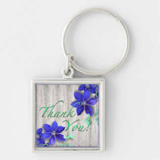 Blue Clematis Thank You Square Keychain