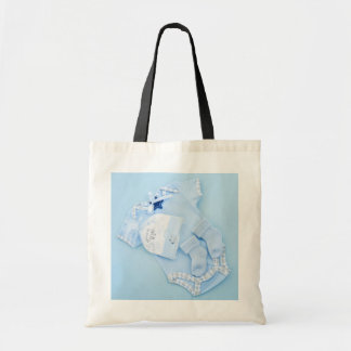 Blue clothes for boy baby shower tote bags