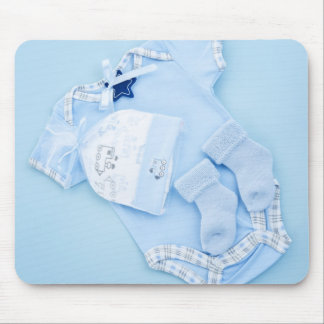 Blue clothes for boy baby shower mouse pad
