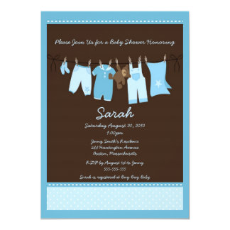 "Blue Clothesline Baby Shower Invitation 5"" X 7"" Invitation Card"