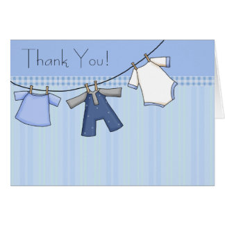 Blue Clothesline Baby Thank You Cards