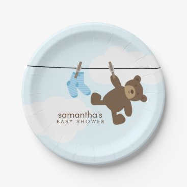 heartlocked Blue Clothesline Boy Baby Shower Paper Plate
