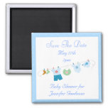 Blue Clothesline Save The Date Baby Shower 2 Inch Square Magnet