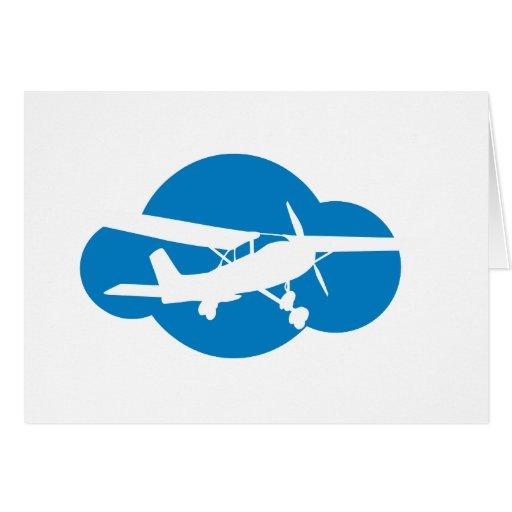 Blue Cloud & Aviation Plane Greeting Card