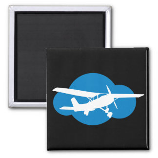 Blue Cloud & Aviation Plane 2 Inch Square Magnet