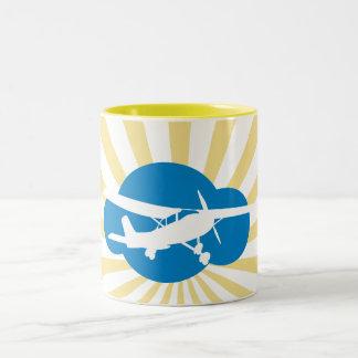 Blue Cloud Aviation Plane Coffee Mugs