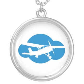 Blue Cloud & Aviation Plane Silver Plated Necklace