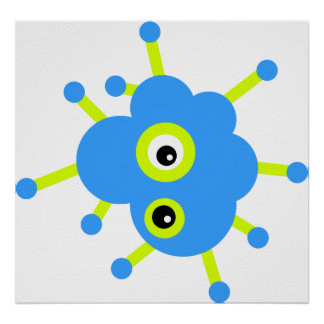 Blue Cloud Germ Poster