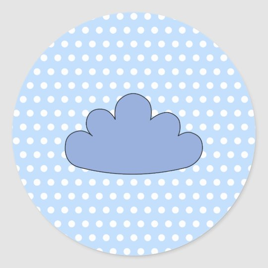 Blue Cloud on Blue and White Polka Dots. Classic Round Sticker