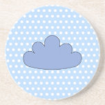 Blue Cloud on Blue and White Polka Dots. Drink Coaster