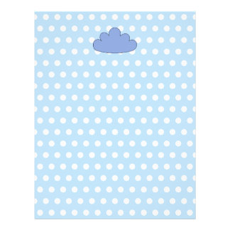 "Blue Cloud on Blue and White Polka Dots. 8.5"" X 11"" Flyer"