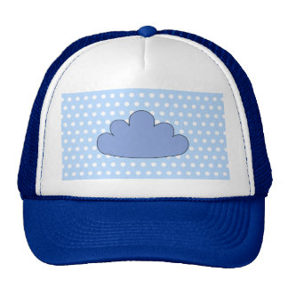 Blue Cloud on Blue and White Polka Dots. Trucker Hat