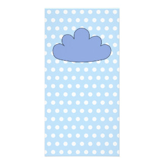 Blue Cloud on Blue and White Polka Dots. Photo Card