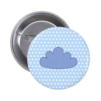 Blue Cloud on Blue and White Polka Dots. Pinback Button