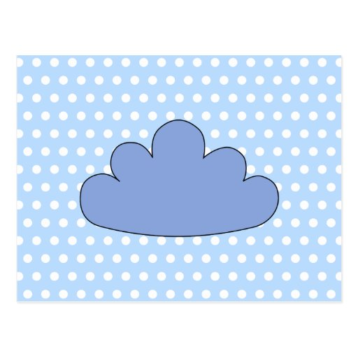 Blue Cloud on Blue and White Polka Dots. Postcard