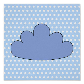 Blue Cloud on Blue and White Polka Dots. Print
