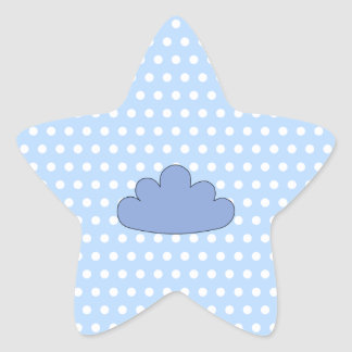 Blue Cloud on Blue and White Polka Dots. Star Sticker