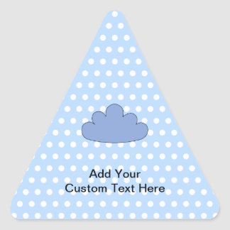 Blue Cloud on Blue and White Polka Dots. Triangle Sticker