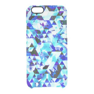 Aztec Themed Blue Cloud Watercolor Geometric Pattern Clear iPhone 6/6S Case