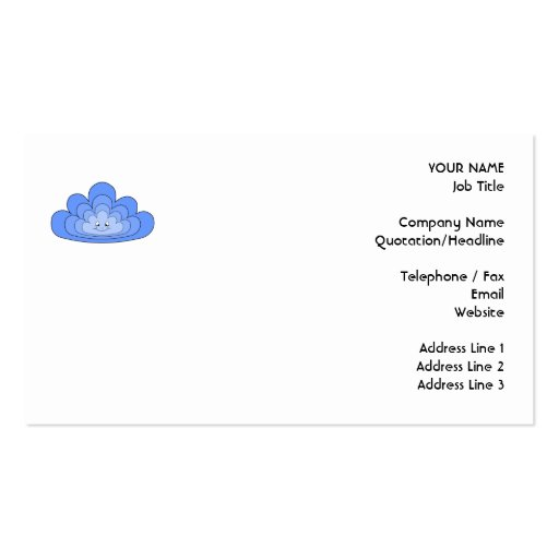 Blue Cloud with Smile on White. Business Card