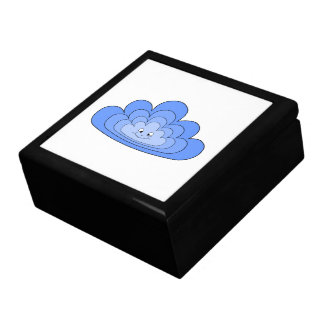 Blue Cloud with Smile on White. Gift Boxes