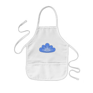 Blue Cloud with Smile on White. Kids' Apron