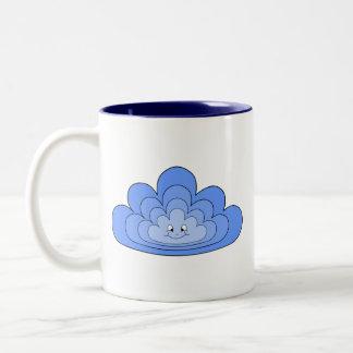Blue Cloud with Smile on White. Two-Tone Coffee Mug