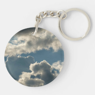 blue clouded sky storm florida weather Double-Sided round acrylic keychain