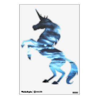 Blue Clouded Unicorn Wall Decal
