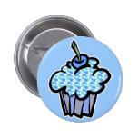 blue clouds cupcake buttons