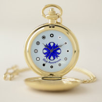 Blue Clover Ribbon (Bf) by K Yoncich Pocket Watch