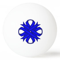 Blue Clover Ribbon by Kenneth Yoncich Ping Pong Ball