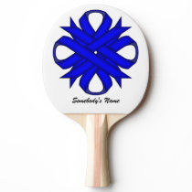 Blue Clover Ribbon by Kenneth Yoncich Ping-Pong Paddle