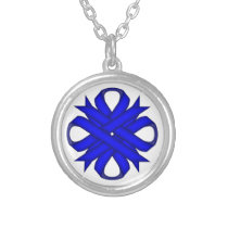 Blue Clover Ribbon by Kenneth Yoncich Silver Plated Necklace