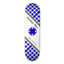 Blue Clover Ribbon by Kenneth Yoncich Skateboard