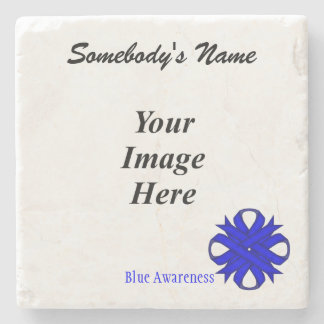 Blue Clover Ribbon by Kenneth Yoncich Stone Coaster
