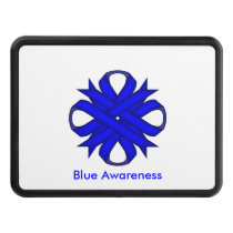 Blue Clover Ribbon by Kenneth Yoncich Tow Hitch Cover