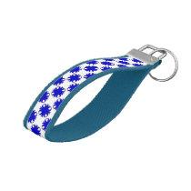 Blue Clover Ribbon by Kenneth Yoncich Wrist Keychain