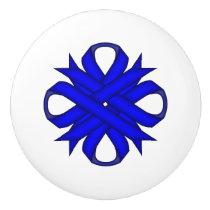 Blue Clover Ribbon Ceramic Knob