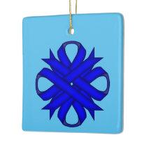 Blue Clover Ribbon Ceramic Ornament