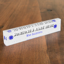 Blue Clover Ribbon Desk Name Plate
