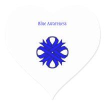 Blue Clover Ribbon Heart Sticker
