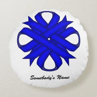 Blue Clover Ribbon Round Pillow