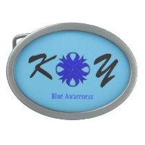 Blue Clover Ribbon Oval Belt Buckle