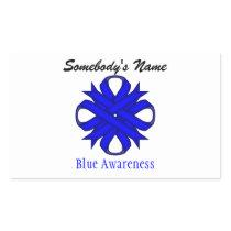 Blue Clover Ribbon Rectangular Sticker