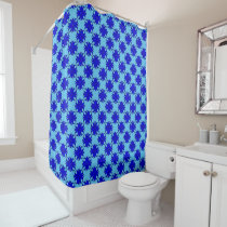 Blue Clover Ribbon Shower Curtain