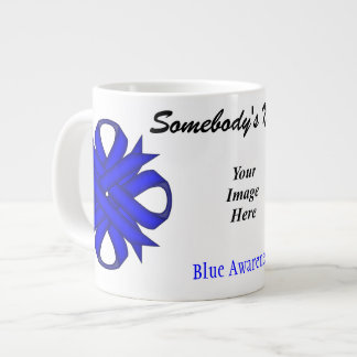 Blue Clover Ribbon Template by Kenneth Yoncich Large Coffee Mug